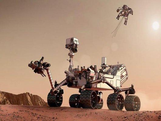 Rover curiosity em marte em 3D